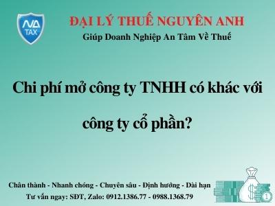 chi phi mo cong ty tnhh co khac voi cong ty co phan